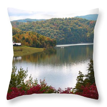 Watauga Lake Autumn Throw Pillow