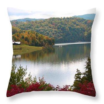 Watauga Lake Autumn Throw Pillow by Annlynn Ward