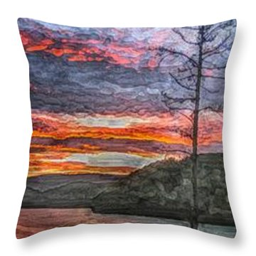 Watauga Lake Sunset Throw Pillow