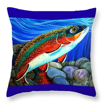 Brook Trout  Throw Pillow by Jackie Carpenter