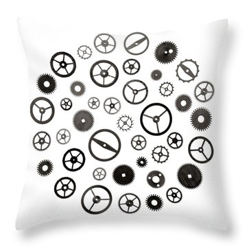 Watch Parts Throw Pillow by Jim Hughes