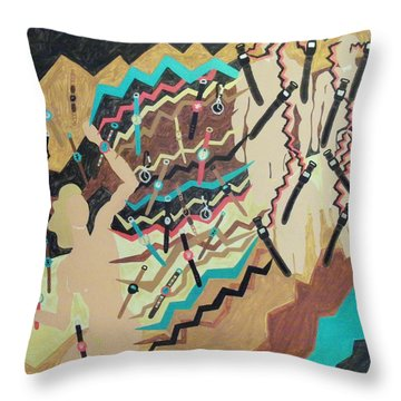 Throw Pillow featuring the painting Watched by Erika Chamberlin