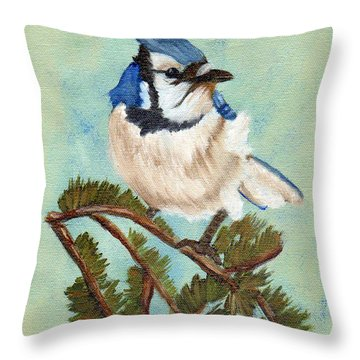 Watchful Blue Jay Throw Pillow by J Cheyenne Howell