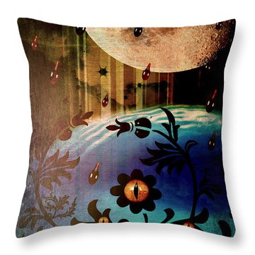 Throw Pillow featuring the mixed media Watching by Ally  White