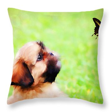Watching Butterflies Throw Pillow