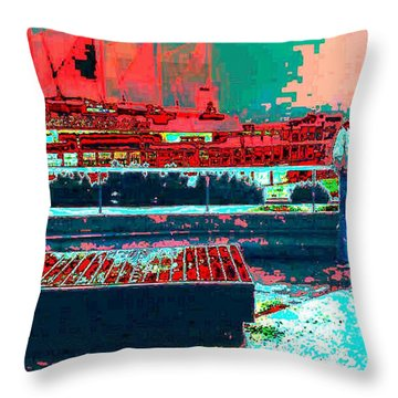Throw Pillow featuring the digital art Watching by Lyle Crump