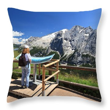 watching Marmolada mount Throw Pillow