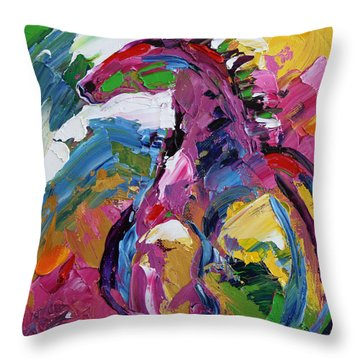 Watching Over . Horse 19 . 2014 Throw Pillow