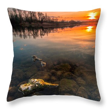 Watching Sunset Throw Pillow