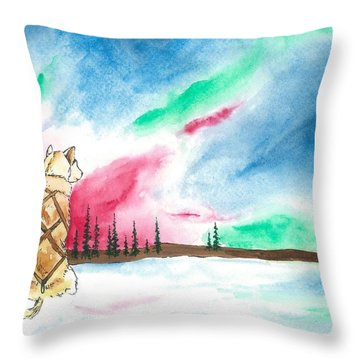 Watching The Lights Throw Pillow by Sarah Glass