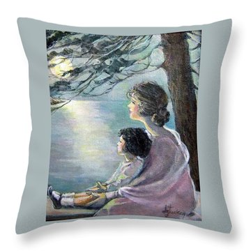 Watching The Moon Throw Pillow by Donna Tucker