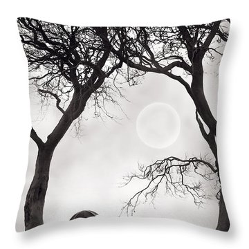 Watching The Moon Throw Pillow by Lee Avison