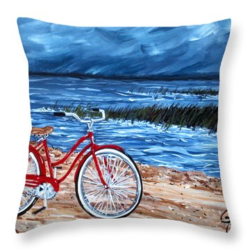 Throw Pillow featuring the painting Watching The Storm by Jackie Carpenter