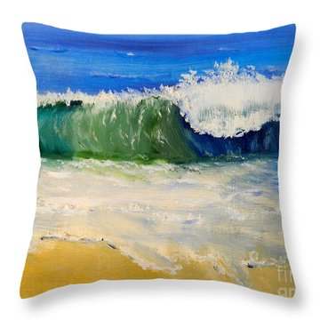 Watching The Wave As Come On The Beach Throw Pillow