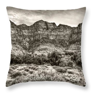 Throw Pillow featuring the photograph Watchman Trail In Sepia - Zion by Tammy Wetzel