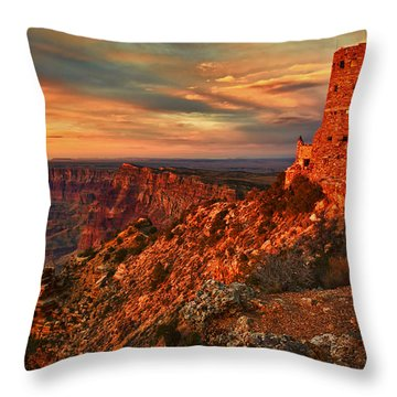 Throw Pillow featuring the photograph Watchtower Sunset by Priscilla Burgers