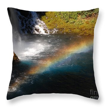 Throw Pillow featuring the photograph Water And Rainbow by Debra Thompson