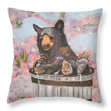 Throw Pillow featuring the painting Water Bear by Phyllis Kaltenbach