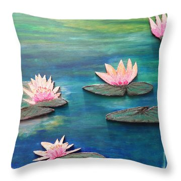Water Blossom Throw Pillow