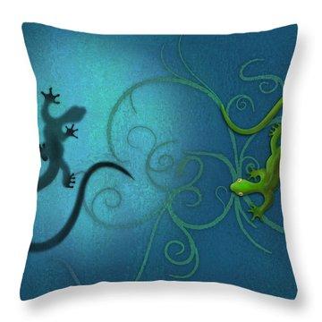 water colour print of twin geckos and swirls Duality Throw Pillow