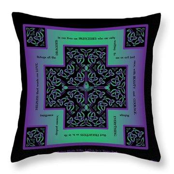 Water Dragon Celtic Cross Throw Pillow