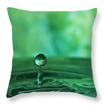 Throw Pillow featuring the photograph Water Drop Green by Linda Blair
