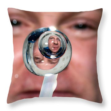 Throw Pillow featuring the photograph Water Droplet On The Iss by Science Source