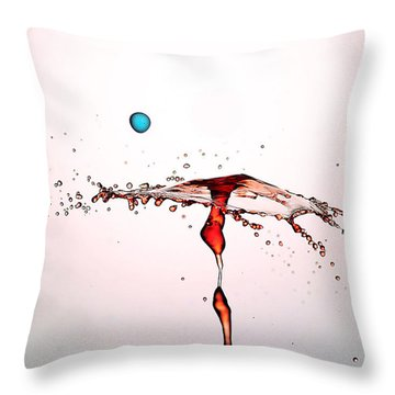 Water Droplets Collision Liquid Art 11 Throw Pillow