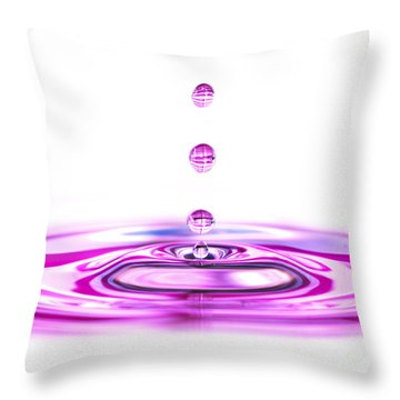 Water Droplets White And Purple Throw Pillow by Sabine Jacobs