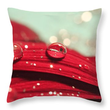 Water Drops And Glitter Throw Pillow