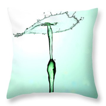 Water Drops Collision Liquid Art 23 Throw Pillow by Paul Ge