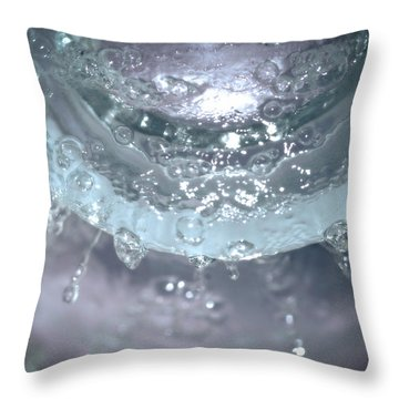 Water Drops On Glass Throw Pillow by J Riley Johnson