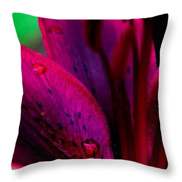 Water-drops On The Petal Throw Pillow by Shelby  Young