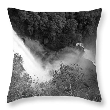 Water Fall And Bushland Throw Pillow by Cheryl Miller