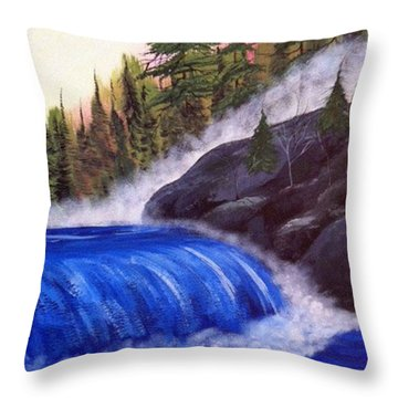 Throw Pillow featuring the painting Water Fall By Rocks by Brenda Brown