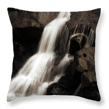 Water Flow Throw Pillow by Les Cunliffe