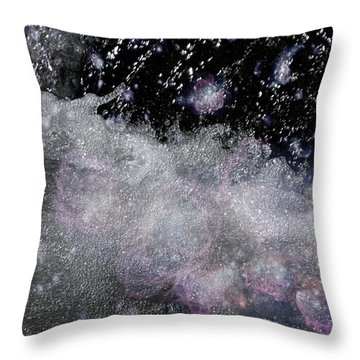Water Flowing Into Space Throw Pillow