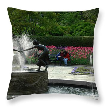 Throw Pillow featuring the photograph Water Fountain In Central Park by Yue Wang