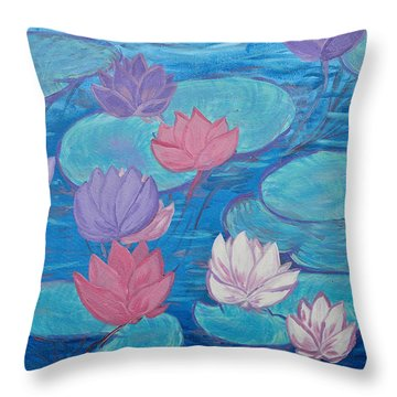 Water Garden Throw Pillow by Judi Goodwin