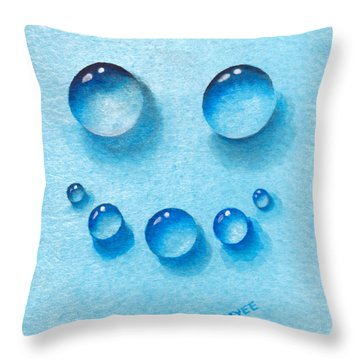 Water Happy Face Throw Pillow