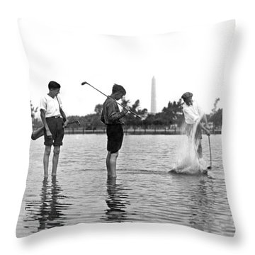 Water Hazard On Golf Course Throw Pillow