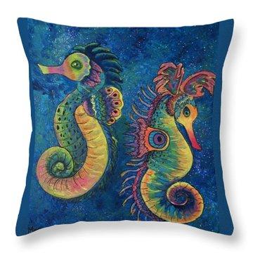 Water Horses Throw Pillow