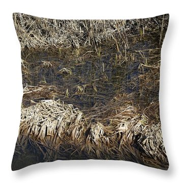 Dried Grass In The Water Throw Pillow
