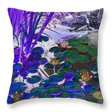 Water Lilies Blue Throw Pillow by Margaret Newcomb