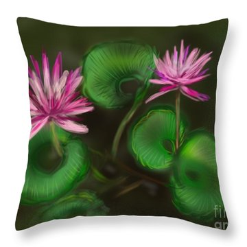 Throw Pillow featuring the digital art Water Lilies by Christine Fournier
