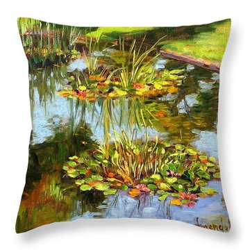 Water Lilies In California Throw Pillow by Dominique Amendola