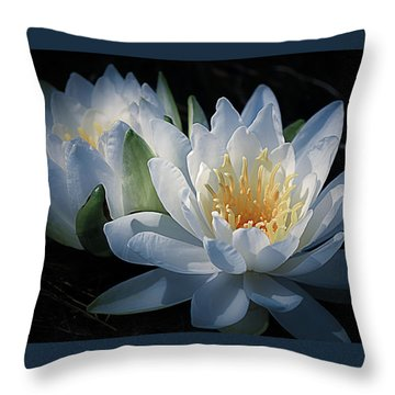 Water Lilies In White Throw Pillow