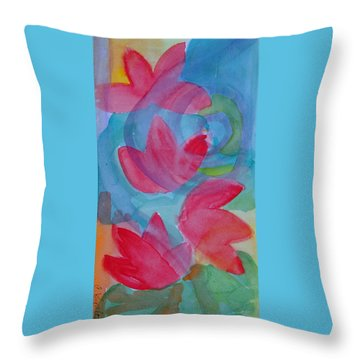 Water Lilies Water Swirls Version II Throw Pillow by Claudia Smaletz