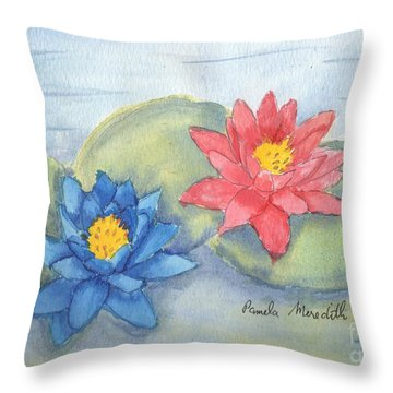 Water   Lillies  Throw Pillow by Pamela  Meredith