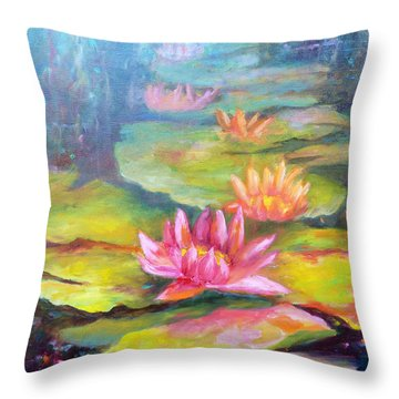 Water Lilly Pond Throw Pillow by Carolyn Jarvis